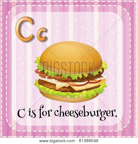 Illustration of a letter C is for cheesburger