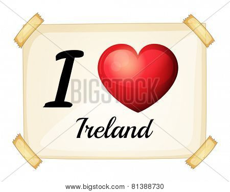 Illustration of i love Ireland sign