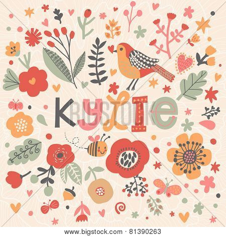 Bright card with beautiful name Kylie in poppy flowers, bees and butterflies. Awesome female name design in bright colors. Tremendous vector background for fabulous designs