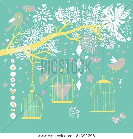 Vintage freedom concept card. Birds out of cages. Romantic floral background in blue colors. Spring birds flying on the branch
