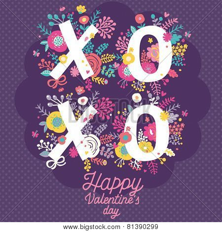 Bright Happy Valentines day card. XO - kiss and hug concept background in vector