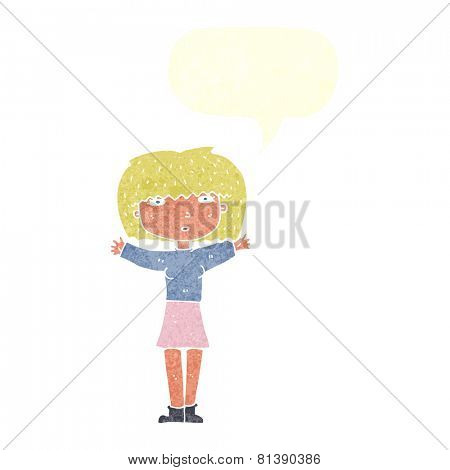 cartoon woman raising arms in air with speech bubble