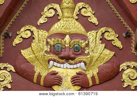Facade decoration detail of Wat Khunaram temple in Koh Samui, Thailand.