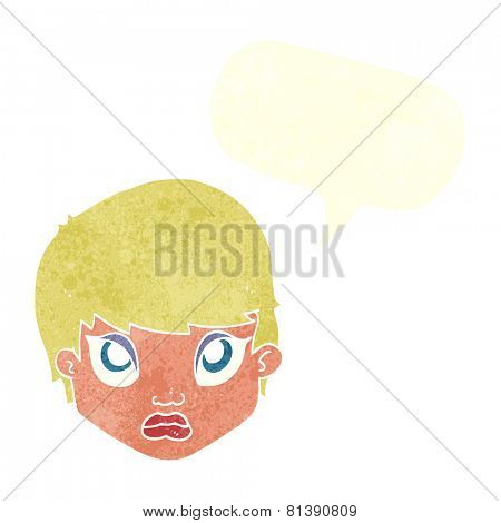 cartoon sulking woman with speech bubble