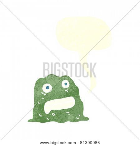 cartoon slime creature with speech bubble