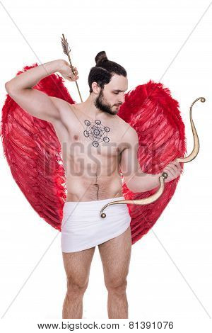 Handsome young guy dressed like Cupid with bow and arrows. Valentine, Archangel, Angel