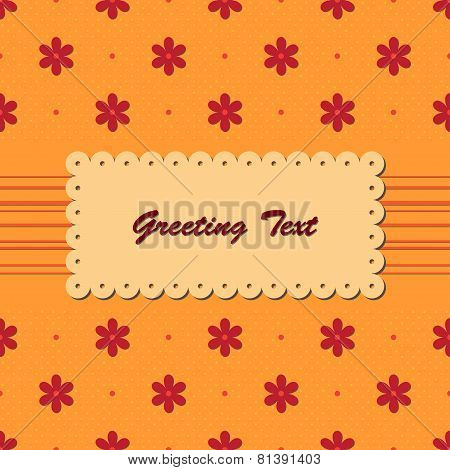 Greeting card with red flowers on orange background