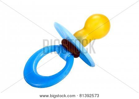 Isolated Close Up Of Blue Baby Pacifier