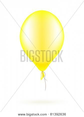 Yellow balloon isolated on white, Vector illustration
