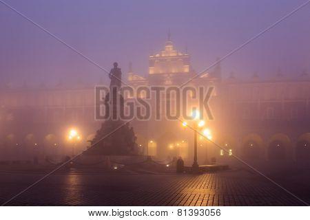 Market Square In Krakow At Morning Fog