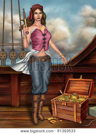 Female pirate, holding a gun, stands next to an open treasure chest. Digital painting.