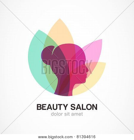 Woman's Face In Flower Leaves. Abstract Design Concept For Beauty Salon, Massage, Cosmetic And Spa.