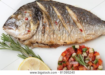 Gourmet Mediterranean Seafood Dish. Grilled Fish Gilthead With Vegetable Salsa