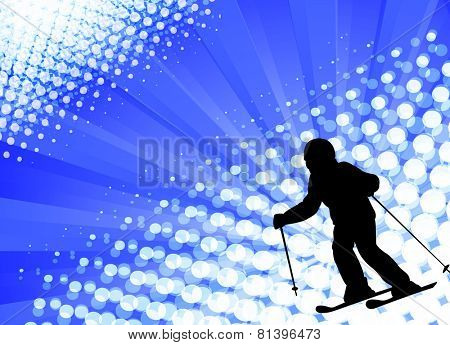 silhouette of child skiing on the abstract background