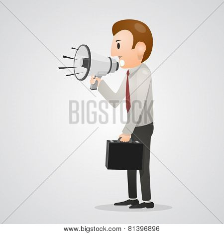 Office man shouting in megaphone