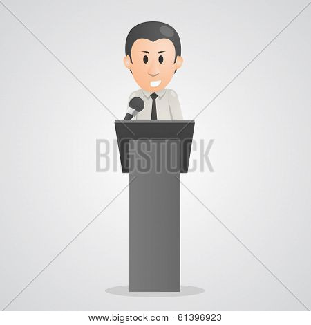 Person speaks into microphone podium