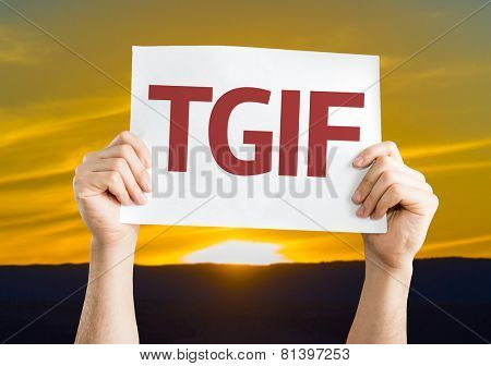 TGIF card with a sunset background