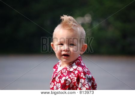 Boy with mohawk