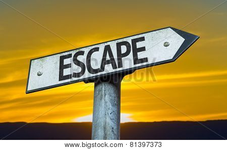 Escape sign with a sunset background
