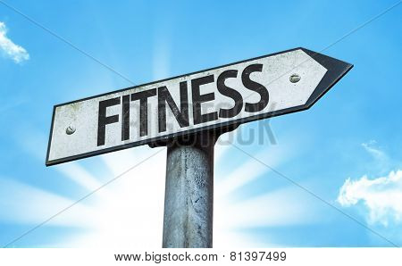 Fitness sign with a beautiful day