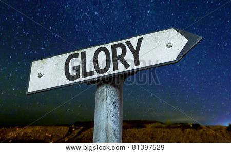 Glory sign with a beautiful night background