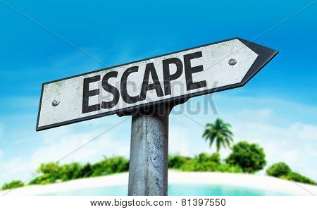Escape sign with a beach on background