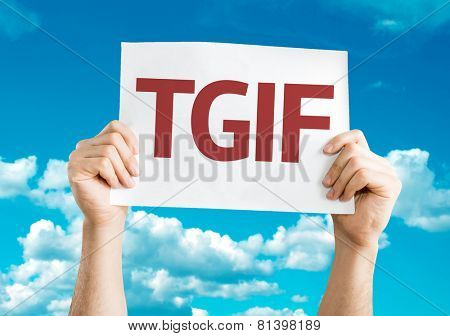 TGIF card with sky background