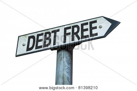 Debt Free sign isolated on white background