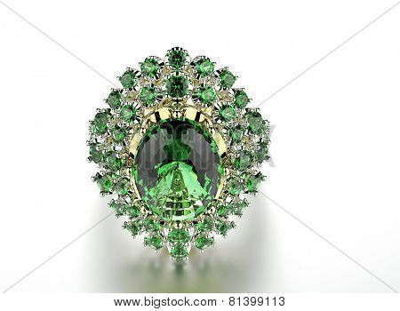 Ring with Diamond. Fashion Jewelry background. Valentine and wedding day. Emerald