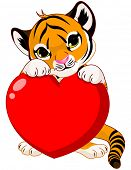stock photo of tiger cub  - Valentine day illustration of cute tiger cub holding heart - JPG