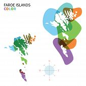 pic of faro  - Abstract vector color map of Faroe Islands with transparent paint effect - JPG