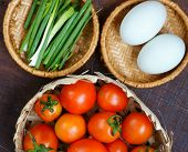 picture of anti-cancer  - Vietnamese food tomato saute egg popular Vietnam food in Viet Nam meal ingredient as egg tomato season with scallion pepper verry nutrition cheap dish for diet or vegeterian anti cancer - JPG