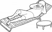 stock photo of lawn chair  - Outline cartoon of bearded man sleeping on lawn chair - JPG