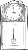 picture of nursery rhyme  - Outline of cartoon antique clock with mouse on top - JPG