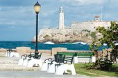 pic of el morro castle  - The castle of El Morro in Havana with a beautiful park on the foreground - JPG