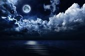 picture of moonlight  - Clouds and water illuminated by soft moonlight from a full moon - JPG