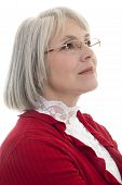 picture of matron  - Mature attractive Caucasian woman looking off into the distance - JPG
