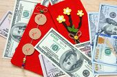 pic of  habits  - Habit custom of Vietnamese on Tet is lucky money a Vietnam traditional culture child wish somebody a happy new year receive red envelope with new small change Tet on spring also lunar new year - JPG