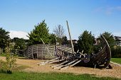 stock photo of viking ship  - wooden decoration of the Park Germany in the form of a Viking ship - JPG