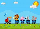 pic of loco  - Vector illustration of Cute animal cartoon on train - JPG