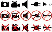 image of beep  - black and white icons with the prohibitions of actions - JPG