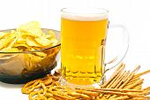 foto of pretzels  - pretzels breadsticks chips and beer on white background - JPG