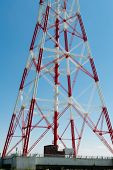 image of electricity pylon  - Electricity pylon for the alternative energy supply over land - JPG