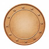 picture of iron star  - Bronze coin with stars around isolated on a white background - JPG