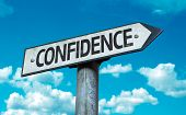 pic of self-confident  - Confidence sign with sky background - JPG
