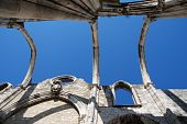image of carmelite  - famous Carmo Church ruins after the earthquake in 1755 in Lisbon Portugal - JPG