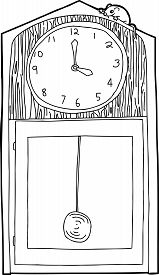 pic of nursery rhyme  - Outline of cartoon antique clock with mouse on top - JPG