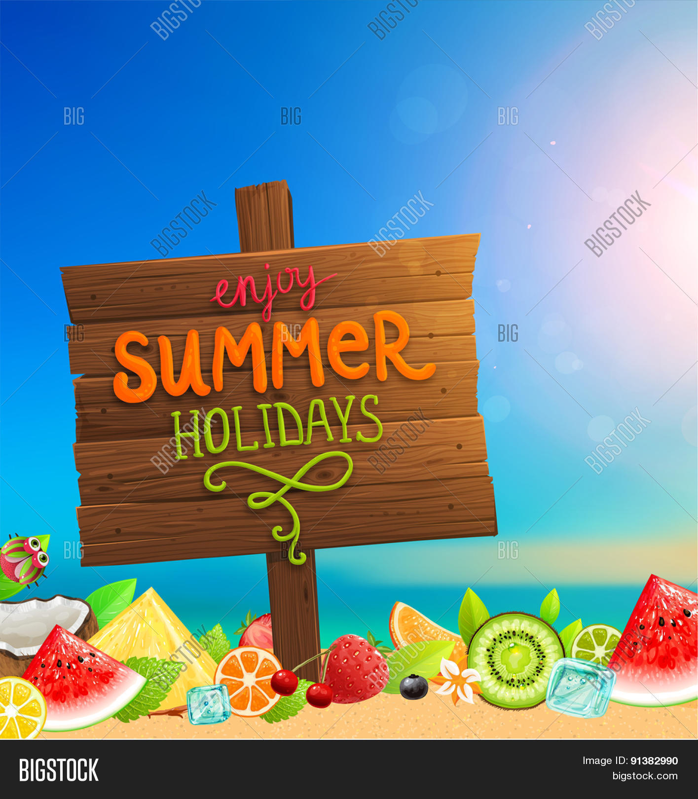 Couple Enjoying Their Summer Holidays Stock Photo: Wooden Plaque With Enjoy Summer Holidays Lettering