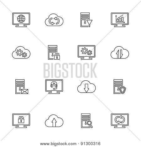 design vector set with hosting, server, database, network and cloud computing icons.