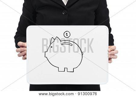 Savings concept on whiteboard